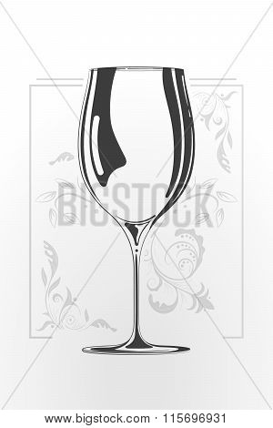 Wine Glass. Vector Hand Drawn Illustration In Cartoon Style. Negative Space Concept. Sketch Of Logo.