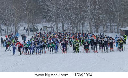 Start Moment For A Large Group Colorful Cross Country Skiers