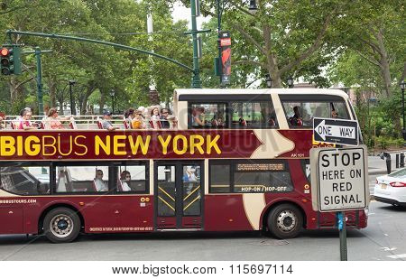 Big Bus With Tourists In Manhattan