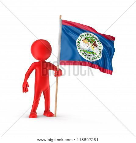 Man and Belize flag. Image with clipping path