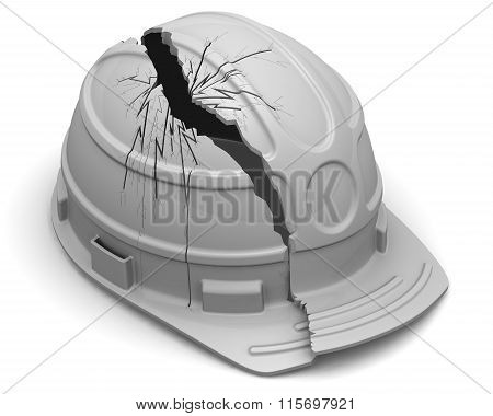Broken hard hat