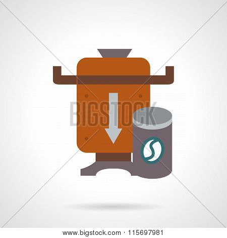 Brown coffee beans mill flat color vector icon