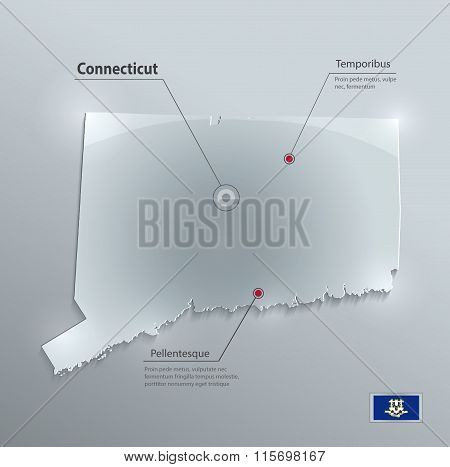 Connecticut map glass card paper 3D vector