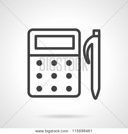 School supplies line vector icon. Mathematics