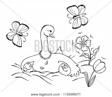 Goose Family With Mother Goose And Her Two Little Children. Black And White Vector Illustration. Col