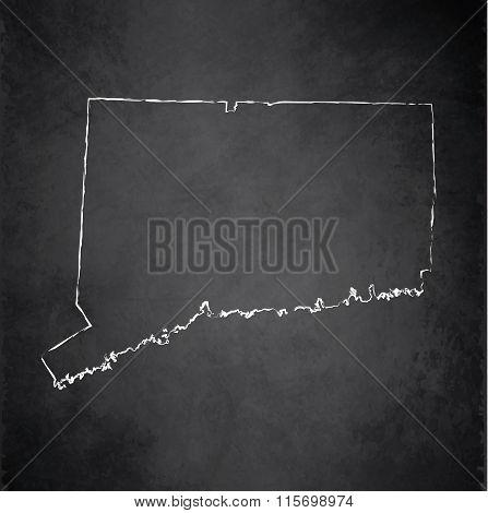 Connecticut map blackboard chalkboard raster