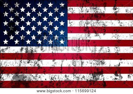 Dirty Worn Flag Of The Usa