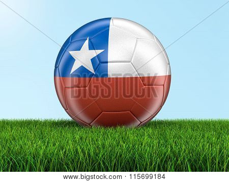 Soccer football with Chilean flag. Image with clipping path