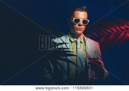 Fashionable Young Man Holding Cocktail Drink