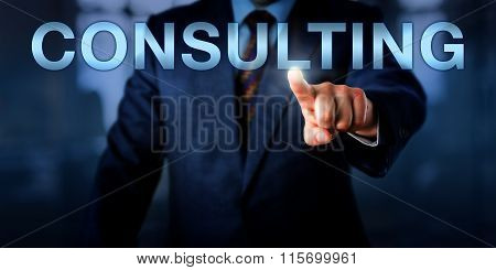Management Consultant Pushing Consulting Onscreen
