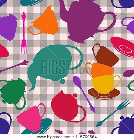 Seamless Pattern Of Tea Set.