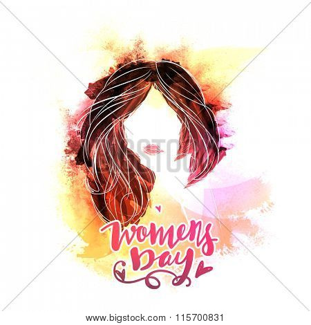 Creative illustration of young girl face with beautiful hairs on colorful splash background for Happy Women's Day celebration.