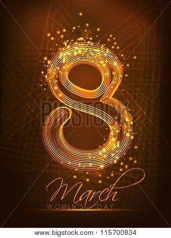 Creative golden text 8 March on shiny brown background for Happy Women's Day celebration.