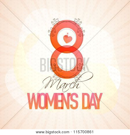 Stylish text 8 March on rays background for Happy Women's Day celebration.