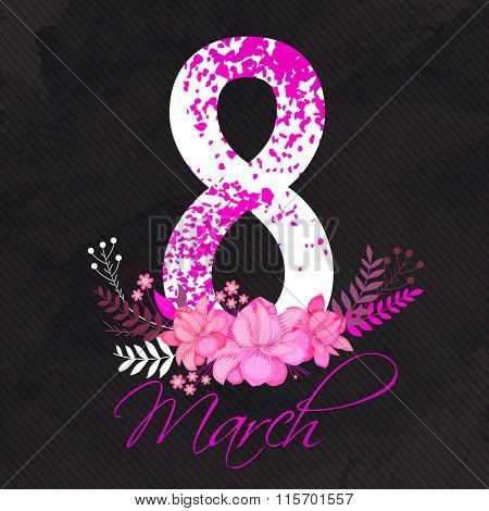 Stylish text 8 March on beautiful flowers for Happy Women's Day celebration.
