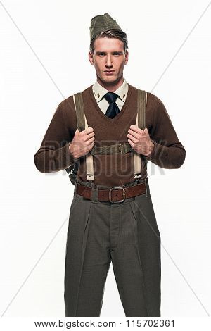 Paratrooper Military Uniform Fashion Man Against White Background.
