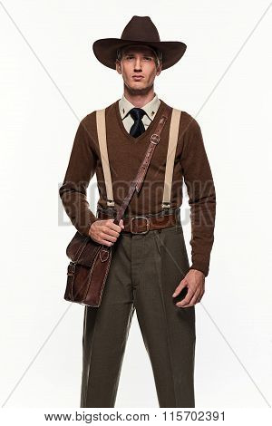 Ranger Uniform Fashion Man Against White Background.