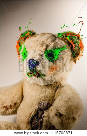 Magical Teddy Bear Painted By Green And Orange