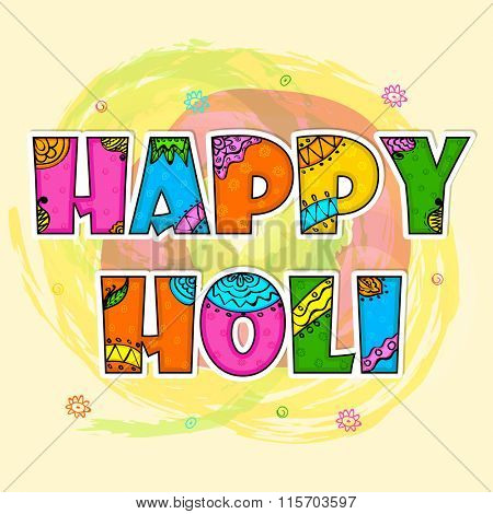 Beautiful floral design decorated colourful text Happy Holi on abstract background for Indian Festival of Colours celebration.