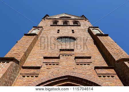 Red Brick Steeple Of An Old Church