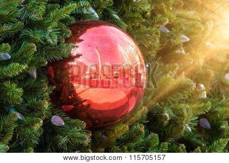 christmas ball hanging on the pine tree.