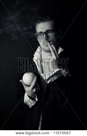 Young Businessman Wearing Glasses With  Cigarette