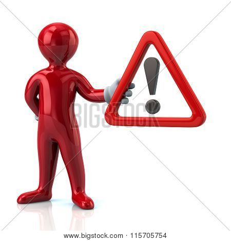 Red Man Hholding  Warning Attention Sign With Exclamation Mark