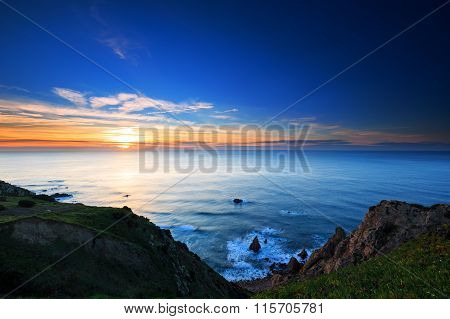 Cliffs Cabo Da Roca At Sunset, Portugal