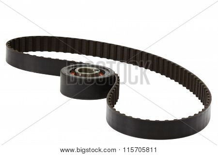 Belt And Tensioner Roller, Isolated On White Background