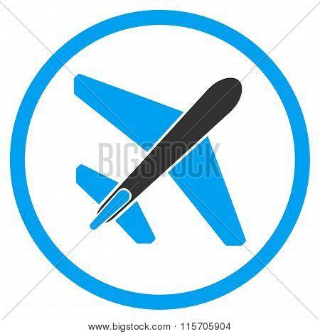 Jet Airplane Circled Icon