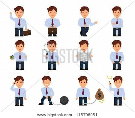 Set of cartoon businessman in a flat style. Businessman in various poses and actions isolated on a w