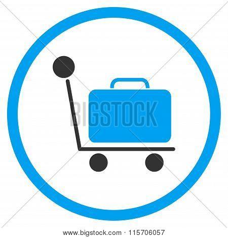 Luggage Trolley Circled Icon