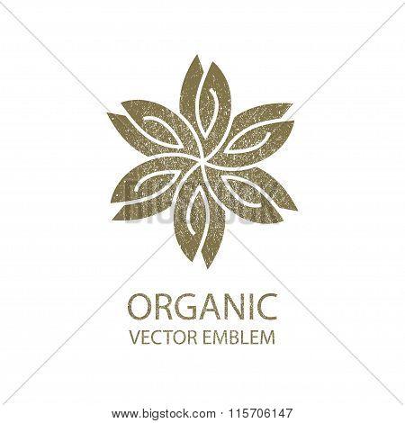 Vector flower organic retro emblem, white background, outline symbol