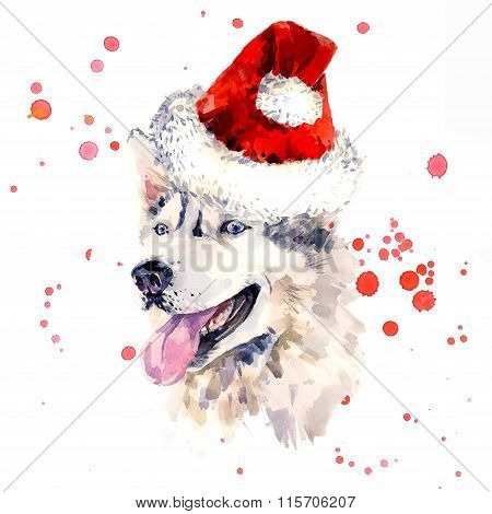 Watercolor sheepdog in red Santa Clause hat
