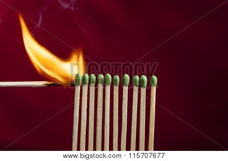 Lighting Matches In A Row.