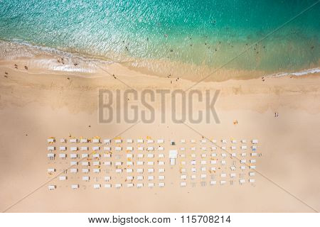 Aerial View Of Santa Maria Beach Parasol And Deck Chair In Sal Island Cape Verde - Cabo Verde