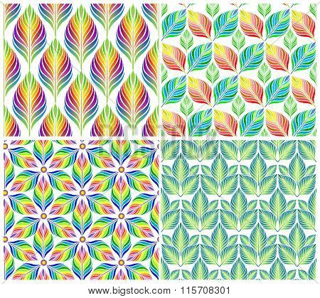 Seamless patterns with colorful leaves. Vector set.
