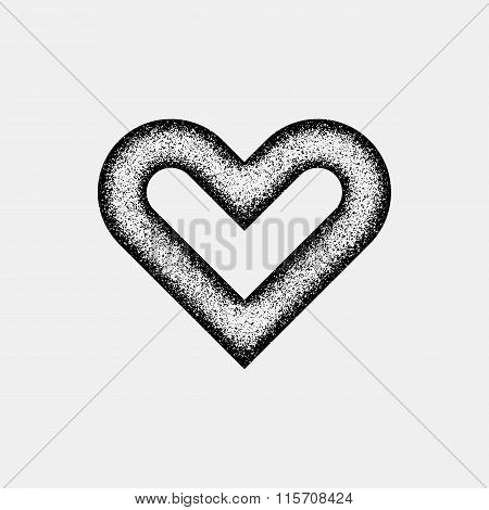 Black Abstract Heart Sign With Grain Texture