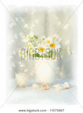 Aquarela digital de margaridas brancas e conchas