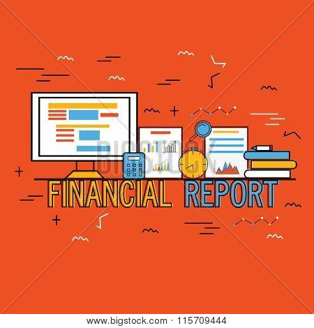 Creative Infographic elements with digital devices for Business Financial Reports presentation.