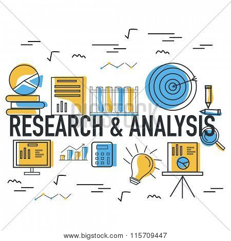 Creative Research and Analysis Infographic elements on grey background for Business.