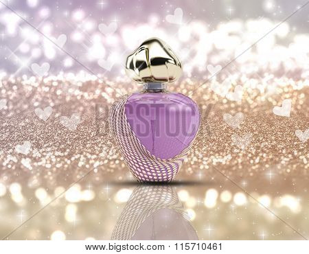3D render of a perfume bottle on a glittery background with stars and bokeh lights