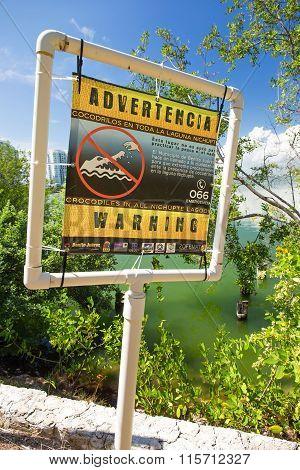 Warning Crocodiles Sign Near The Nichupte Lagoon