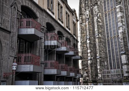 Medieval And Modern Industrial Architecture In Old Town Of Aachen, Germany