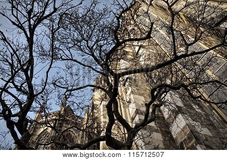 Aachen, Germany - 4 January 2014: Silhuette Of The Aachen Cathedral Seen Through Trees Branches