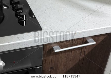 Part Of Modern Kitchen With Electric Stove Oven Details, Front Door And Handle Closeup