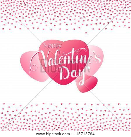 Valentines day greeting card with big pink hearts