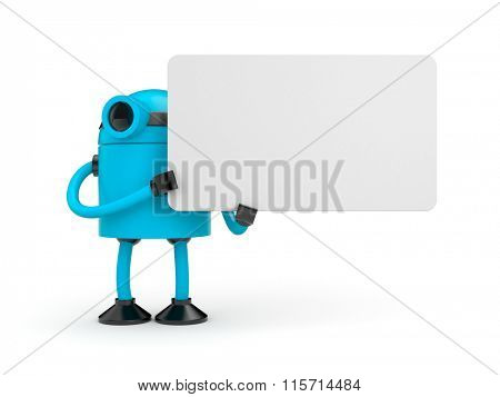 Blue robot holding a empty sign