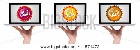 Hand Holding Laptop With Colorful Sale Label Collection 2