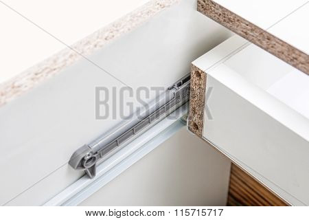 Undermount Drawer Slides - Glides Closeup Detail - Furniture Hardware - Spare Parts